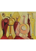 fancy bottles in red by Dina Shubin